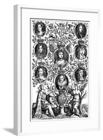 Queen Anne's (1665-171) Family Tree--Framed Giclee Print