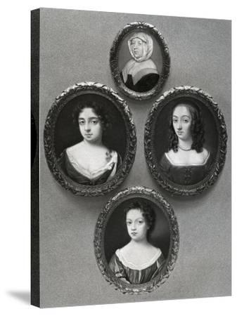 Elizabeth Cromwell, Mother of Oliver Cromwell, and His Daughters, Mary, Elizabeth and Bridget, 1899-John Hoskins I-Stretched Canvas Print