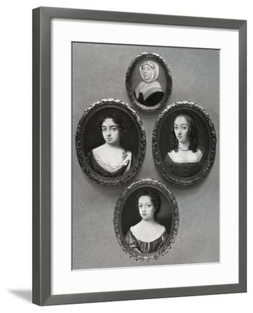 Elizabeth Cromwell, Mother of Oliver Cromwell, and His Daughters, Mary, Elizabeth and Bridget, 1899-John Hoskins I-Framed Giclee Print