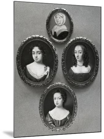 Elizabeth Cromwell, Mother of Oliver Cromwell, and His Daughters, Mary, Elizabeth and Bridget, 1899-John Hoskins I-Mounted Giclee Print