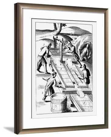 Washing Ore to Extract Gold, 1683--Framed Giclee Print