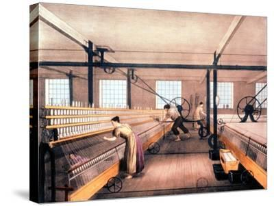 Spinning Cotton with Self-Acting Mules of the Type in 1825--Stretched Canvas Print