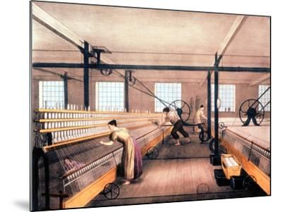 Spinning Cotton with Self-Acting Mules of the Type in 1825--Mounted Giclee Print