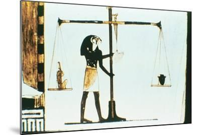 The God Horus Weighing the Heart of the Dead in a Balance, Ancient Egyptian, 28th Dynasty, C400 Bc--Mounted Giclee Print