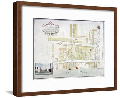 Plan of the Fire That Took Place at Ratcliff in Stepney, London, in 1794--Framed Giclee Print