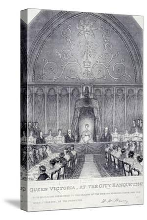 Queen Victoria at the Guildhall Banquet, London, 1837--Stretched Canvas Print
