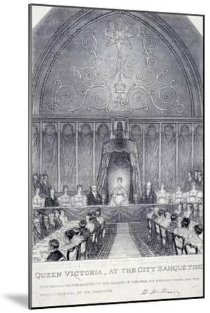 Queen Victoria at the Guildhall Banquet, London, 1837--Mounted Giclee Print