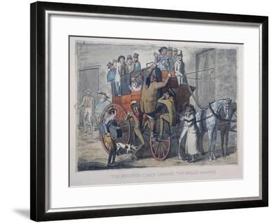Brighton Coach Leaving Th Belle Sauvage Inn, London, C1840--Framed Giclee Print