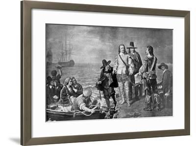 Hampden and Pym Prevented from Emigrating to New England by Order of the Government, 1926--Framed Giclee Print