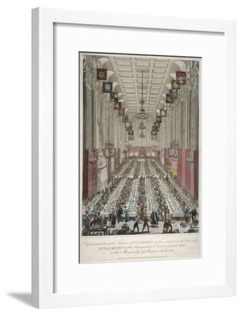 Dinner in the Guildhall, City of London, 1830--Framed Giclee Print