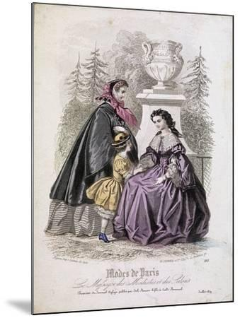 Two Women and a Child Wearing the Latest Fashions in a Garden Setting, 1858--Mounted Giclee Print