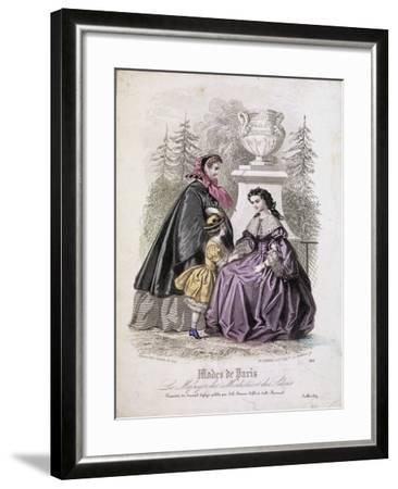 Two Women and a Child Wearing the Latest Fashions in a Garden Setting, 1858--Framed Giclee Print