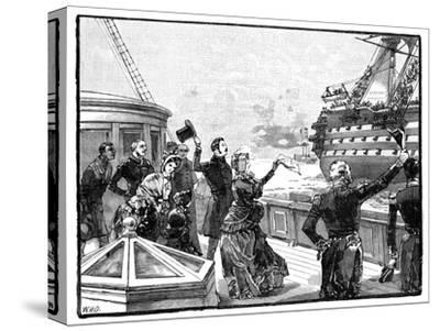 The Queen Waving Farewell to the 'Duke of Wellington' Flagship, C1850s--Stretched Canvas Print