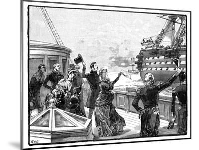 The Queen Waving Farewell to the 'Duke of Wellington' Flagship, C1850s--Mounted Giclee Print