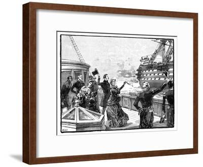 The Queen Waving Farewell to the 'Duke of Wellington' Flagship, C1850s--Framed Giclee Print