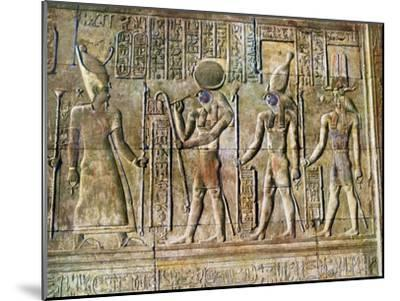 Hieroglyphic Relief, Temple of Kom Ombo, Egypt, 20th Century--Mounted Giclee Print