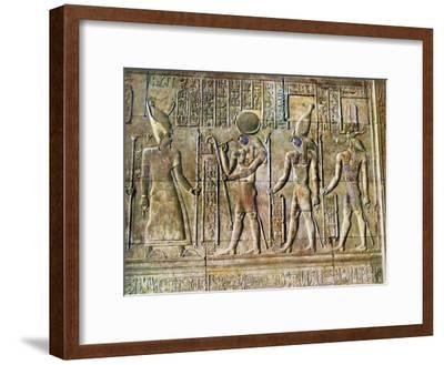 Hieroglyphic Relief, Temple of Kom Ombo, Egypt, 20th Century--Framed Giclee Print