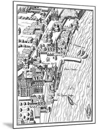Bird's-Eye View of the Palace of Westminster, London, C1560- Aggas-Mounted Giclee Print