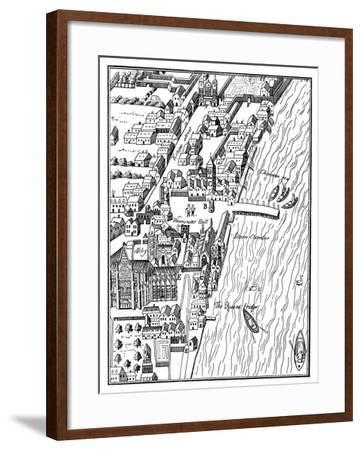 Bird's-Eye View of the Palace of Westminster, London, C1560- Aggas-Framed Giclee Print