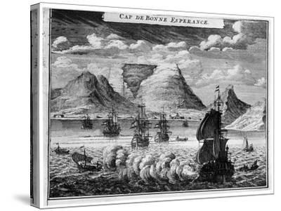 The Arrival of the Fleet in the Time of Simon Van Der Stel, 1931--Stretched Canvas Print