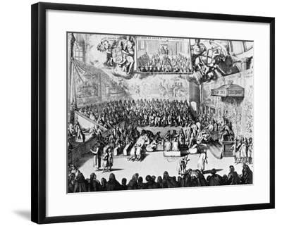 Opening of Parliament by Queen Anne, Westminster, London, 18th Century--Framed Giclee Print
