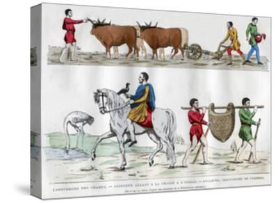 Ploughing, a Lord Hunting with a Bird, a Slave, and Two Servants, 5th-7th Century (1882-188)--Stretched Canvas Print