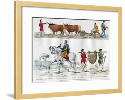 Ploughing, a Lord Hunting with a Bird, a Slave, and Two Servants, 5th-7th Century (1882-188)--Framed Giclee Print
