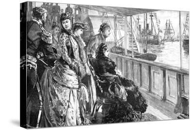 The Queen Reviewing the Fleet at Spithead, Hampshire, Late 19th Century--Stretched Canvas Print