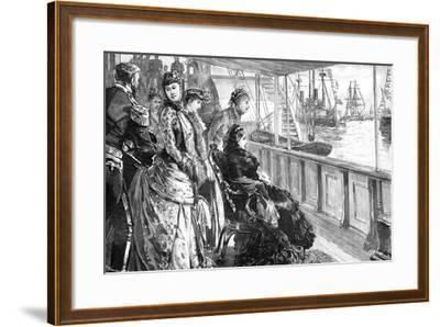 The Queen Reviewing the Fleet at Spithead, Hampshire, Late 19th Century--Framed Giclee Print