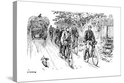 A British Cycle Club Out for a Country Ride, 1895--Stretched Canvas Print