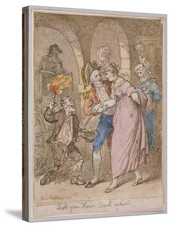 Light Your Honor Coach Unhired, Scene at Covent Garden Piazza,Cries of London, 1811-Thomas Rowlandson-Stretched Canvas Print