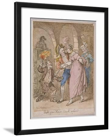 Light Your Honor Coach Unhired, Scene at Covent Garden Piazza,Cries of London, 1811-Thomas Rowlandson-Framed Giclee Print