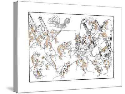 Retribution, the Rats and the Cat, 1878-Kiosai Kiosai-Stretched Canvas Print
