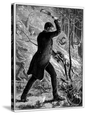 Charles Kingsley Fighting a Fire, British Writer and Cleric--Stretched Canvas Print
