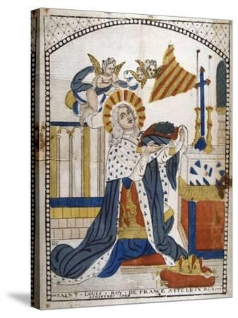 Louis IX, King of France, in Chartres Cathedral in His Coronation Robes, 1226--Stretched Canvas Print