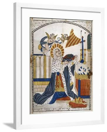 Louis IX, King of France, in Chartres Cathedral in His Coronation Robes, 1226--Framed Giclee Print