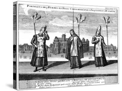 Portraits of 3 Women and Girls Condemned by the Spanish Inquisition, 1759--Stretched Canvas Print