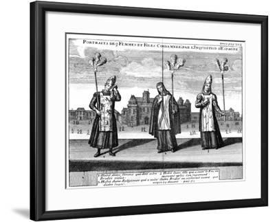 Portraits of 3 Women and Girls Condemned by the Spanish Inquisition, 1759--Framed Giclee Print