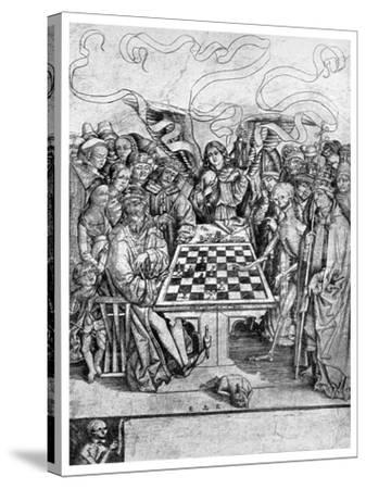 Chess: Death Checkmating a King, C1400--Stretched Canvas Print