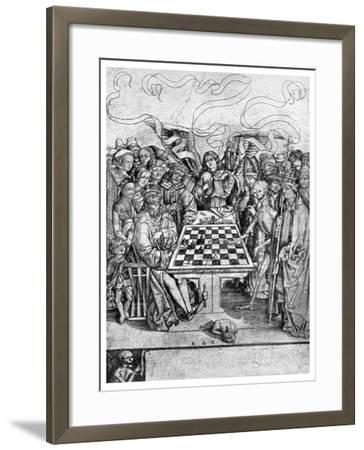 Chess: Death Checkmating a King, C1400--Framed Giclee Print