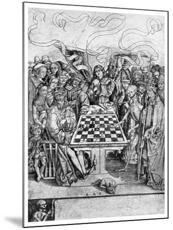 Chess: Death Checkmating a King, C1400--Mounted Giclee Print