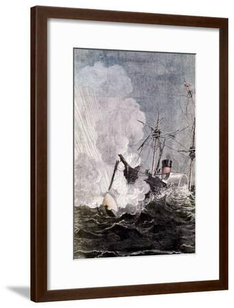 Scene from Jules Verne's from the Earth to the Moon, 1865--Framed Giclee Print
