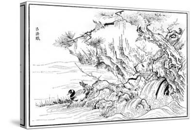 River Scene, 16th Century-Kano Motonobu-Stretched Canvas Print