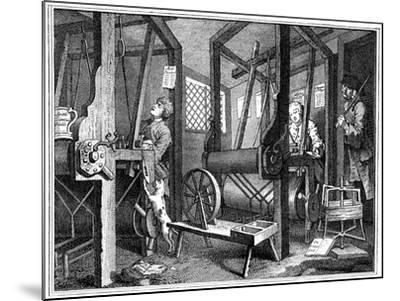 Weaving at Spitalfields, London, 1747-William Hogarth-Mounted Giclee Print