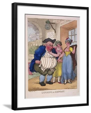 Catching an Elephant, 1812-Thomas Rowlandson-Framed Giclee Print