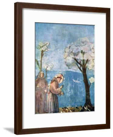 St Francis Preaching to the Birds, 1297-1299, (C1900-192)-Giotto-Framed Giclee Print