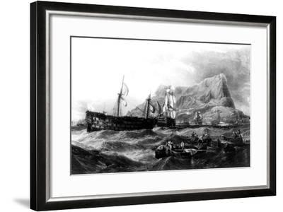 HMS Victory Towed Back to Gibraltar, 1805, 19th Century--Framed Giclee Print