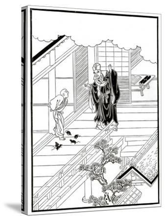 Sesshiu and the Pictured Rats, 18th Century-Nishikawa Sukenobu-Stretched Canvas Print