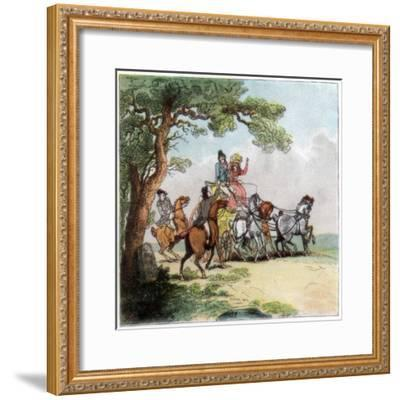Vicissitudes of the Road in 1787, the Highwayman, Lord Barrymore Stopped, 1890-Thomas Rowlandson-Framed Giclee Print