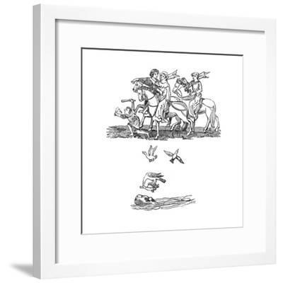 Men and Women in the Act of Hawking, 14th Century--Framed Giclee Print